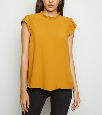 Mustard Frill Trim Sleeveless Top