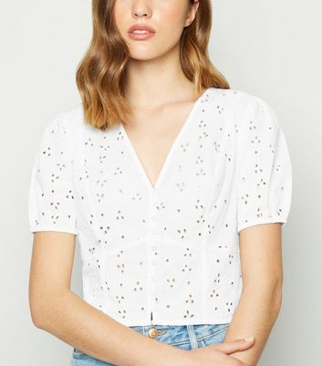 White Broderie Button Up Shirt