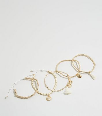 Wanted5 Pack Gold Faux Shell Bracelets by New Look