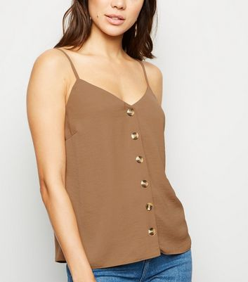 Camel Button Front Cami