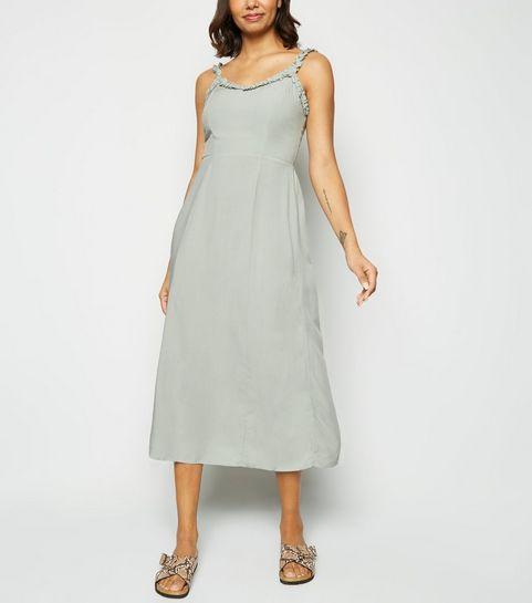 b7997ae2c62 ... Mint Green Ruffle Trim Midi Dress ...