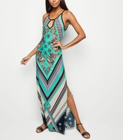 ae5ec44e8f ... Blue Vanilla Turquoise Floral Diamond Print Maxi Dress ...