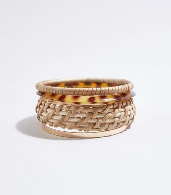 4 Pack Multicoloured Raffia bangle set