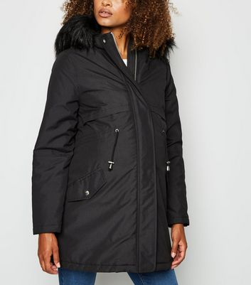 Maternity Black Faux Fur Trim Hooded Parka Jacket by New Look