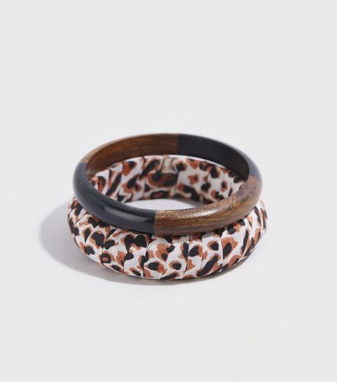 527d6fa8d1b ... WANTED 2 Pack Brown Leopard Print Bangles ...