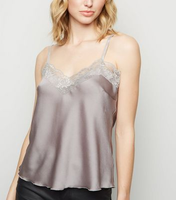 Cameo Rose Silver Satin Lace Trim Cami