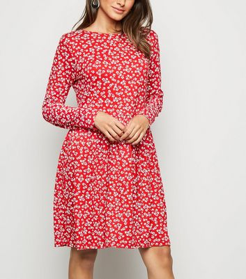 Red Ditsy Floral Jersey Smock Dress