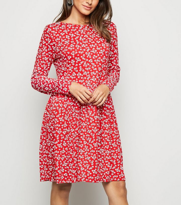 38afb741707 Red Ditsy Floral Jersey Smock Dress