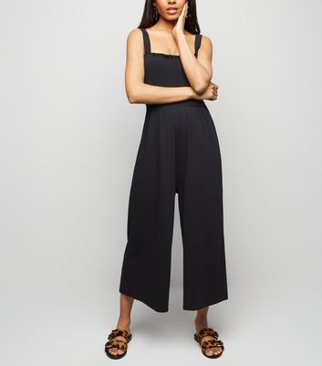 petite-black-shirred-top-jersey-jumpsuit by new-look