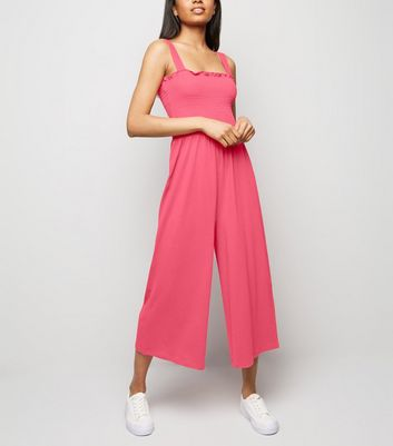 Petite Pink Neon Shirred Top Jersey Jumpsuit