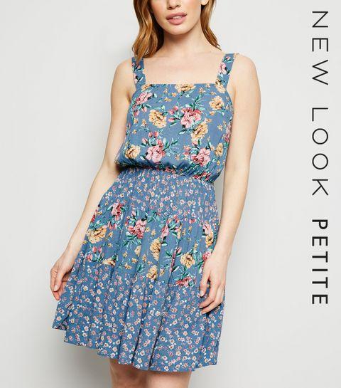 851107e0fd ... Petite Blue Floral Tiered Mini Dress ...
