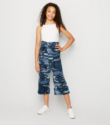 Girls Blue Camo Paperbag Culottes