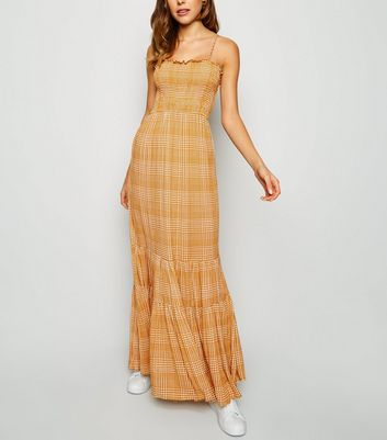 Orange Check Tiered Maxi Dress