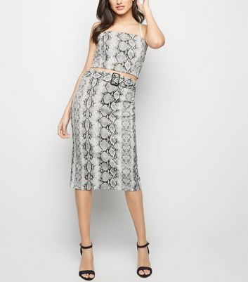 Cameo Rose Light Grey Snake Print Midi Skirt