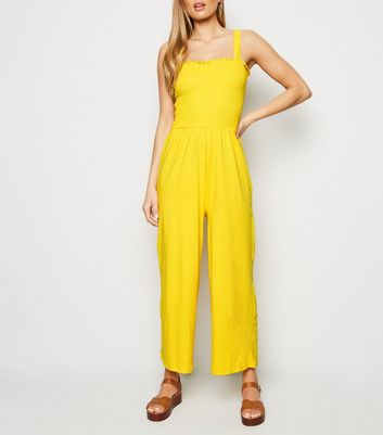Tall Yellow Shirred Strappy Jumpsuit