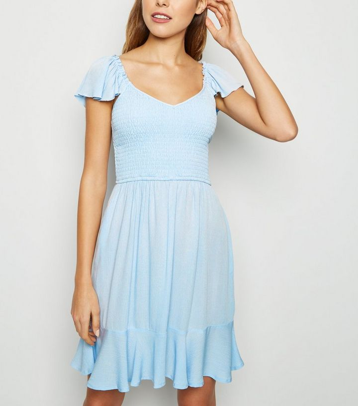 moderate price first look best selling Pale Blue Milkmaid Shirred Dress Add to Saved Items Remove from Saved Items