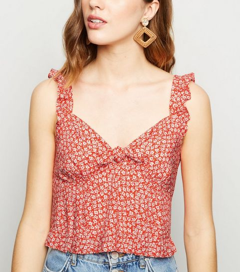 172459fd87b4 ... Red Floral Print Tie Front Cami ...