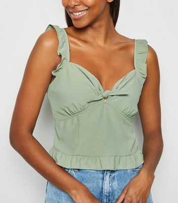 Mint Green Frill Tie Front Cami