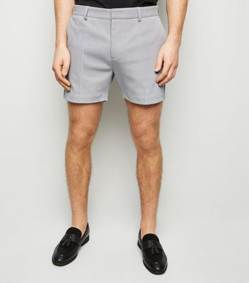 Pale Grey Pique Shorts