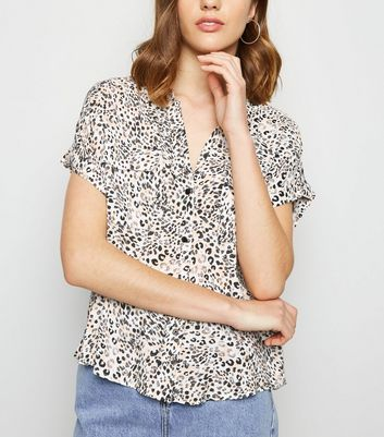 White Leopard Print Short Sleeve Shirt
