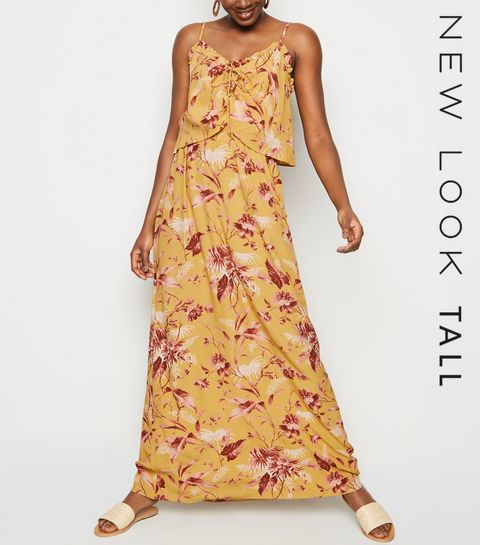 8b3e57e9676 ... Tall Mustard Tropical Print Maxi Dress ...