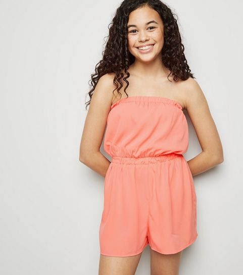7f85152f17d ... Girls Mid Pink Bandeau Playsuit ...