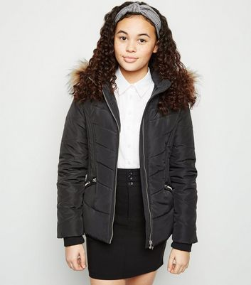 Girls Black Faux Fur Trim Fitted Puffer Coat