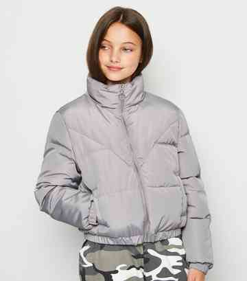 Girls Grey Puffer Jacket