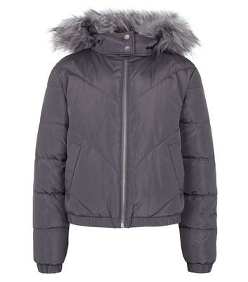 Girls Dark Grey Faux Fur Parka Coat | New Look