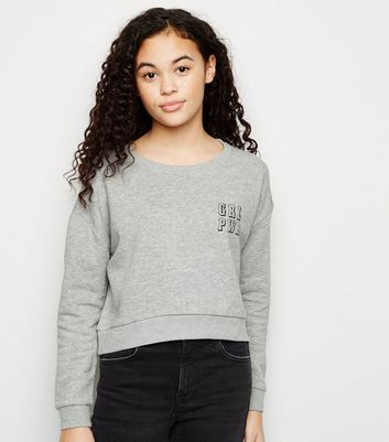 Girls - Sweat gris foncé à slogan GRL PWR