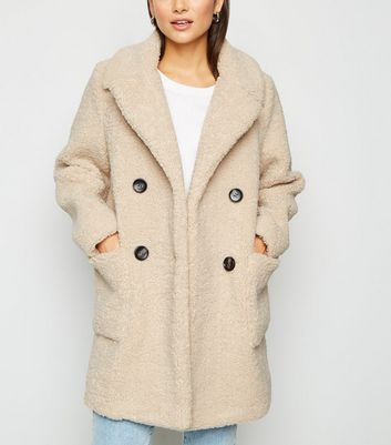 Petite Cream Teddy Coat by New Look