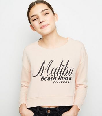 Girls - Sweat rose pâle brossé à slogan Malibu