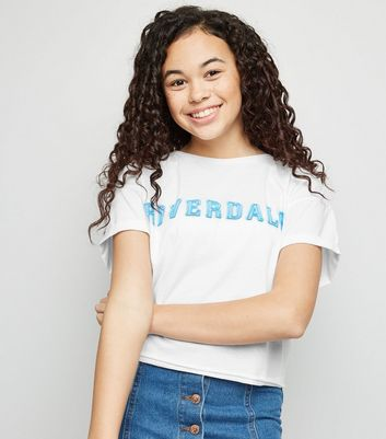 Girls White Riverdale Logo T-Shirt