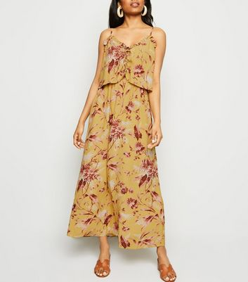 Petite Mustard Tropical Print Maxi Dress