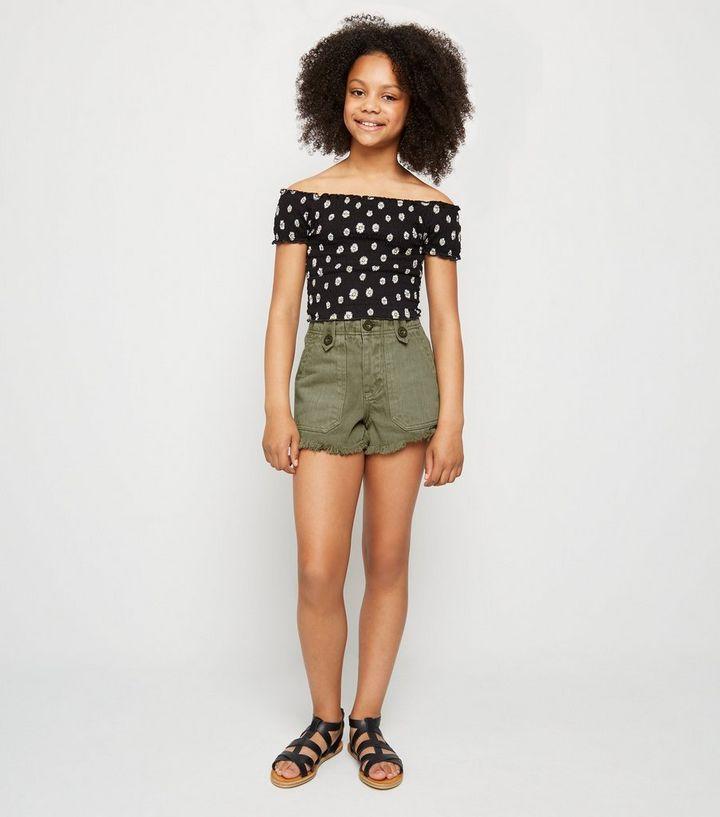 af6e4d81c456 Girls Khaki Denim Utility Shorts | New Look