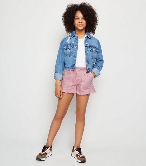 366f1443417 ... Girls Pink Denim Utility Shorts ...