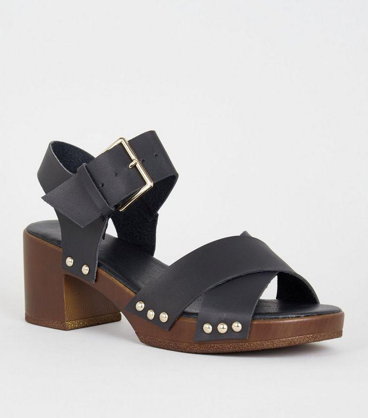 f19e96c34 Girls Tan Wood Sole Chunky Sandals