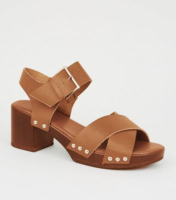 Girls Tan Wood Sole Chunky Sandals