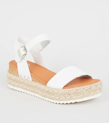 White Leather-Look Flatform Sandals