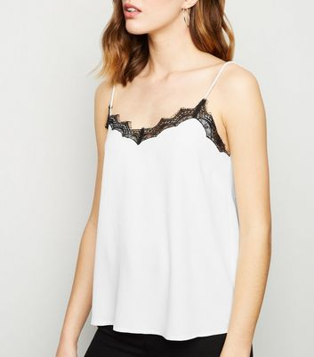 Black Lace Contrast Trim Cami