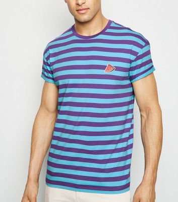 Bright Blue Stripe Watermelon Embroidered T-Shirt
