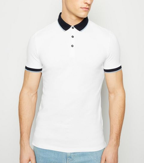 a538eb1483a ... White Tipped Muscle Fit Polo Shirt ...