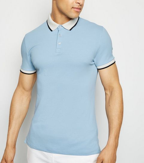 25cc67f31b7 ... Pale Blue Tipped Muscle Fit Polo Shirt ...
