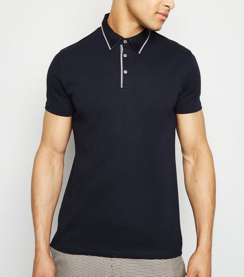 e8467b13f9903 ... Navy Contrast Collar Polo Shirt ...