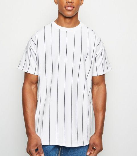 1a3c2a640a7a ... White Vertical Stripe Short Sleeve T-Shirt ...
