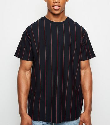 Navy Vertical Stripe Short Sleeve T-Shirt