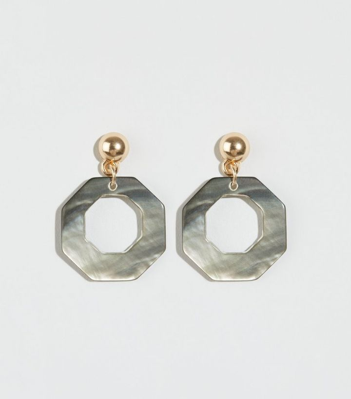 0d05aea0f32cb Grey Faux Shell Hexagonal Earrings | New Look