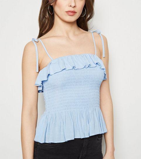 636c0dd4e1c72 ... Pale Blue Shirred Frill Cami ...