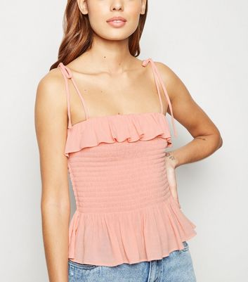 Pale Pink Shirred Frill Cami