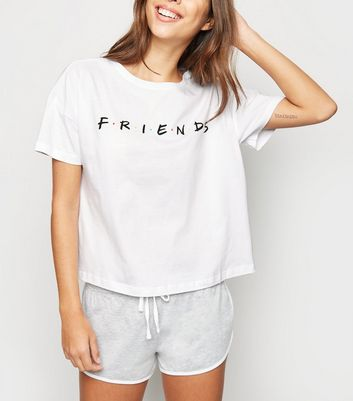 White Friends Shorts Pyjama Set
